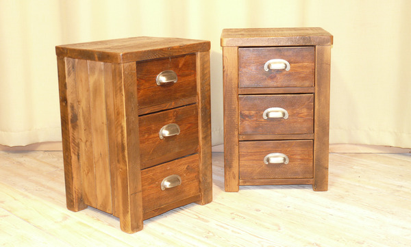 Two triple draw bedside cabinets